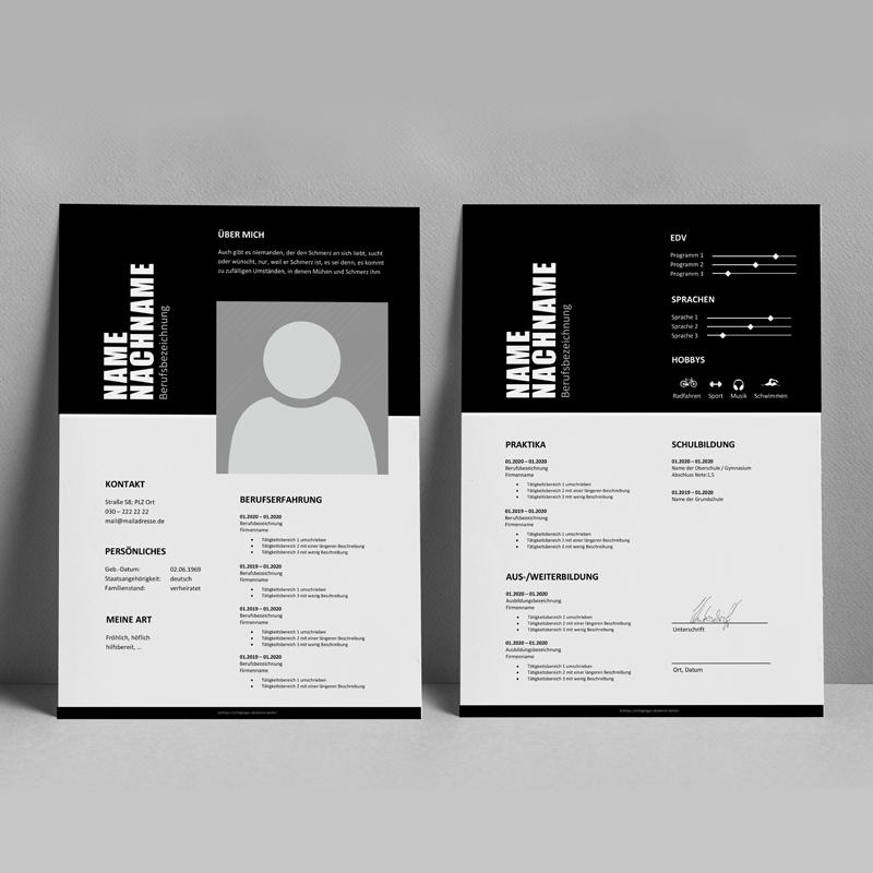 Lebenslauf portfolio in schwarz-weiß