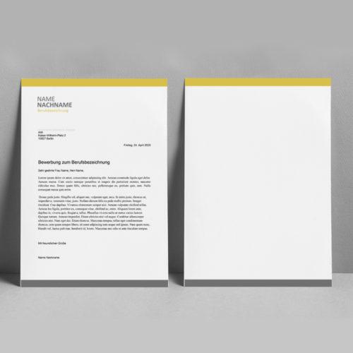 Lebenslauf in gelb grau