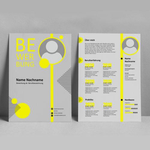 Lebenslauf modern in Grau mit gelben Elementen